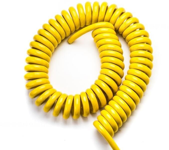 Shielded Spiral Power Cable With Outer Pur Sheath Coiled